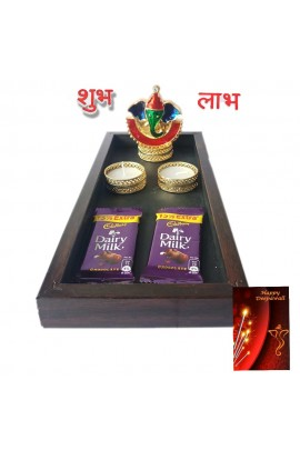 Diwali Wooden Pooja Tray Combo with Ganesh Kankavati and Candles