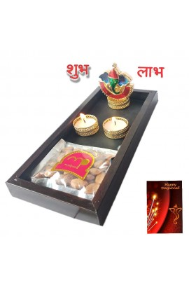 Diwali Wooden Tray with Ganesh Kankavati & Dryfruits and Candles