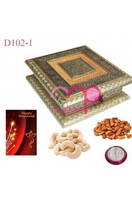 Diwali German Silver Dry Fruit Box with Fine Dry Fruits