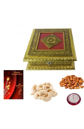 DIwali Antique Gold and Red Dryfruit Box with Quality Dryfruits with Silver Coin