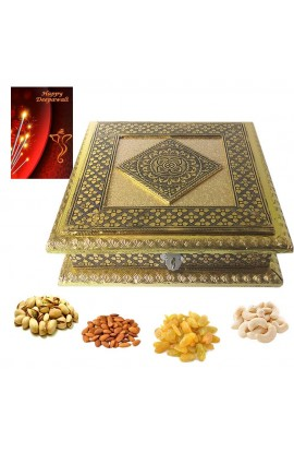 DIwali Antique Gold Dry fruit Box with quality Dry fruits