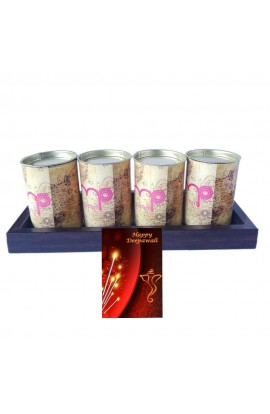 Diwali Quality Unique Dry Fruits in Tin Box with Wooden Tray