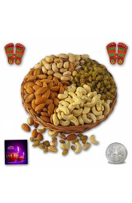 Diwali Dry Fruit Basket With Pagla stickers and Silver Coin