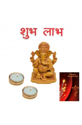 Diwali Pooja Ganesh Statue with Shubh Labh Stickers and Candles