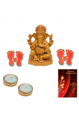 Diwali Ganesh Statue with Candles and Pagla Stickers