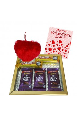 Maalpani chocolate Hamper with Heart shape Pillow - Valentine day Gift set with Assorted cadbury Chocolates and Greetings