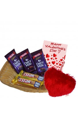 Valentine's Day Chocolate Hamper with Heart shape Soft Toy - Cadburry Assorted Chocolates and Creative Greeting Card