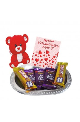 Valentine's Day chocolate Tray Hampers Combo - Greeting Card with Teddy and Chocolates