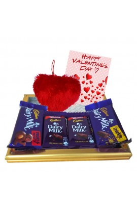Maalpani Heart Shape Toy and Wooden Tray with Chocolates for Valentine day 2019 - Chocolate day - Proposed Day