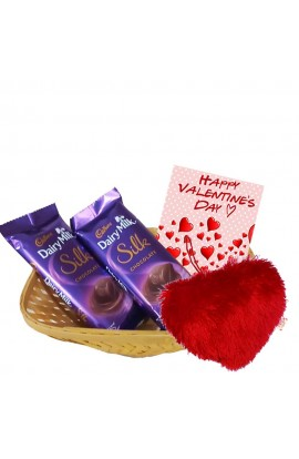 Valentine's Day Greetings with Chocolate Basket for Love one