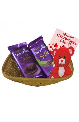 valentine's Day Greetings with Teddy bear - Chocolate Basket for Valentine's Day 2019