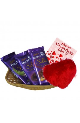 Valentine  Gift  pack - Silk Chocolate Set with Basket and Greetings