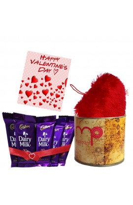 Chocolates For Valentine Day | Dairy milk Chocolates plus heart shape Pillow and decorative Tin with Greeting Card